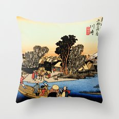 Kawasaki on the Tokaido Road Throw Pillow