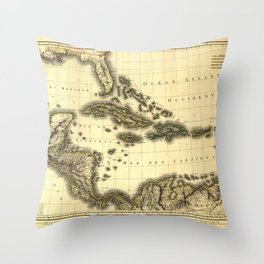 Map of the West Indies and Mexican Gulf (1806) Throw Pillow