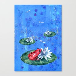 Red Frog on Lily Pad Canvas Print
