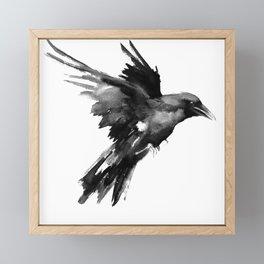 Flying Raven. tribal raven lover black and white raven decor Framed Mini Art Print