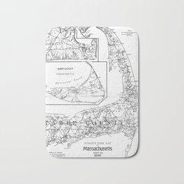 Vintage Cape Cod Cyclist Map (1893) BW Bath Mat