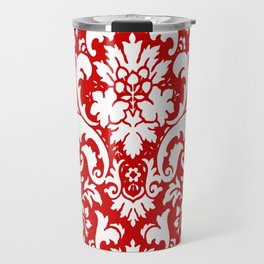 Paisley Damask Red and White Pattern Travel Mug