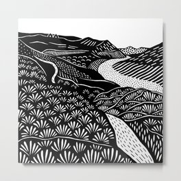 Abstract black and white pattern landscape Metal Print