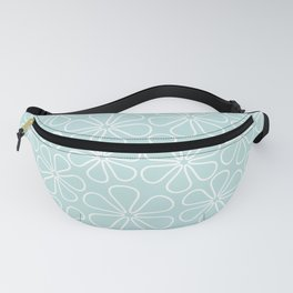 Abstract Flower Outlines White on Duck Egg Blue Fanny Pack