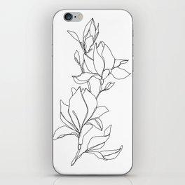 Botanical illustration line drawing - Magnolia iPhone Skin