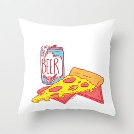 Pizza & Beer Throw Pillow