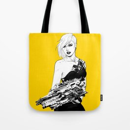 Badass girl with gun in comic pop art style Tote Bag