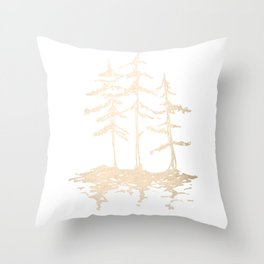 Three Sisters Forest White Gold Trees Throw Pillow
