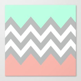 DOUBLE COLORBLOCK CHEVRON {MINT/CORAL/GRAY} Canvas Print