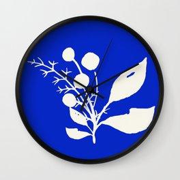 Minimal Wildflowers On Cobalt Blue Wall Clock