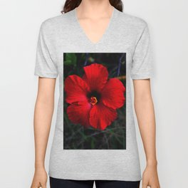 Red Hibiscus in my Face Unisex V-Neck