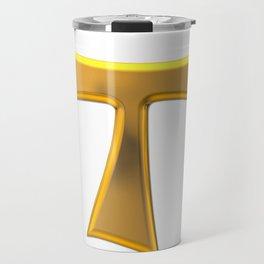 Golden 3-D Look Franciscan Tau Cross Travel Mug