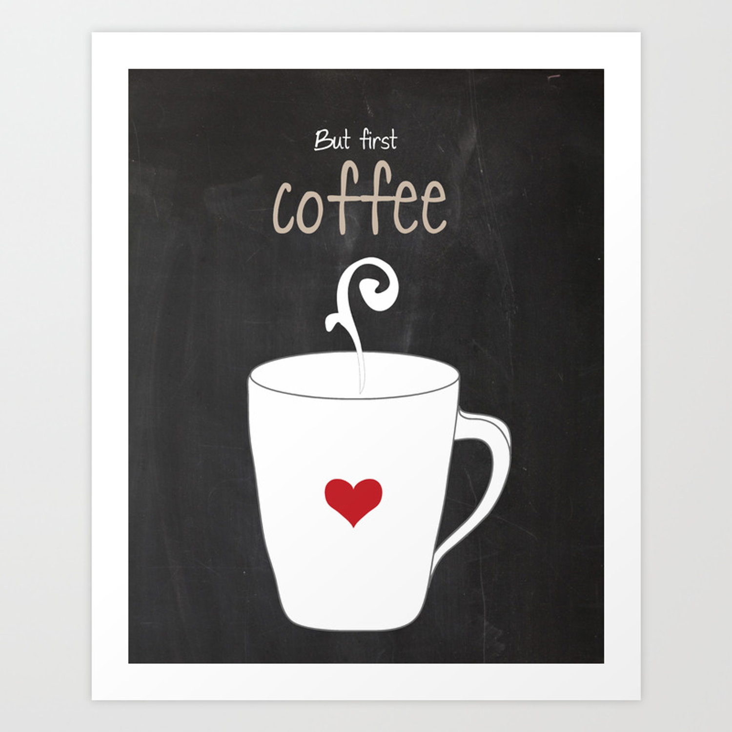 But First Coffee Black And White Red Print Kitchen Art Printable Wall Decor Typography Poster By Lubo Society6