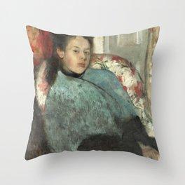 Portrait of Elena Carafa by Edgar Degas Throw Pillow