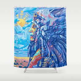 native american portrait 3 Shower Curtain