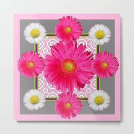 Fuchsia Gerbera & Shasta Daisy  Pink-Grey Pattern Art Metal Print