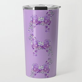 Akita Inu Dog Purple Lilac Lavender Turquoise Pastel Pretty Floral Pattern Travel Mug