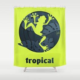 Tropical Frog Papercut Design Shower Curtain