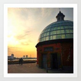 Greenwich Foot Tunnel Sunset Art Print