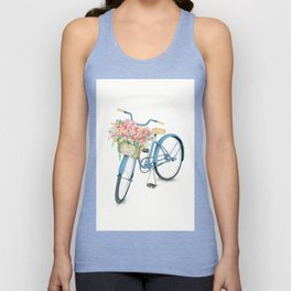 Blue Bicycle with Flowers in Basket Unisex Tank Top