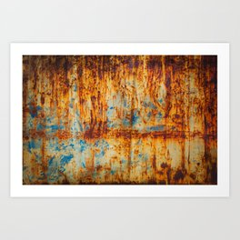 Blue painted metal with rust texture 2 Art Print