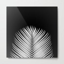 WHITE LEAVES ON BLACK Metal Print