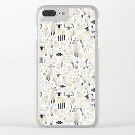 Watercolour Sheep Clear iPhone Case