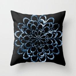 Ice Blue Floral Design Throw Pillow