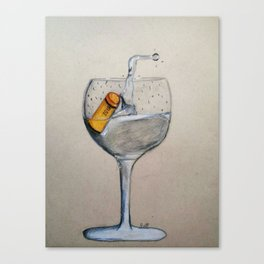 A glass of water with a cork in it Canvas Print