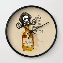 Drink Up Me Hearties Yo Ho! Wall Clock