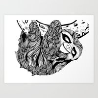 sloth Art Prints featuring Sloth  by Animaux Circus