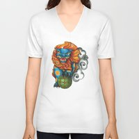 foo fighters V-neck T-shirts featuring Foo Dog by missfortunetattoo