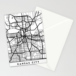 KANSAS CITY MISSOURI BLACK CITY STREET MAP ART Stationery Cards