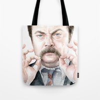 swanson Tote Bags featuring Swanson Mustache by Olechka