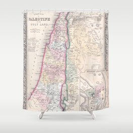 Old 1864 Historic State of Palestine Map Shower Curtain