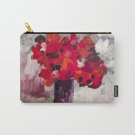 Red, Red Abstract Flowers Contemporary Carry-All Pouch