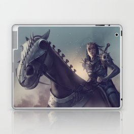 Roe sitting on a horse BLUE Laptop & iPad Skin