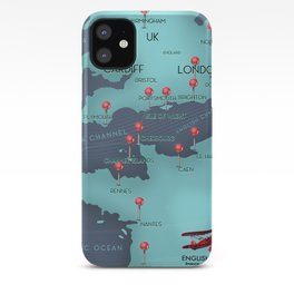 English Channel Nautical Map iPhone Case