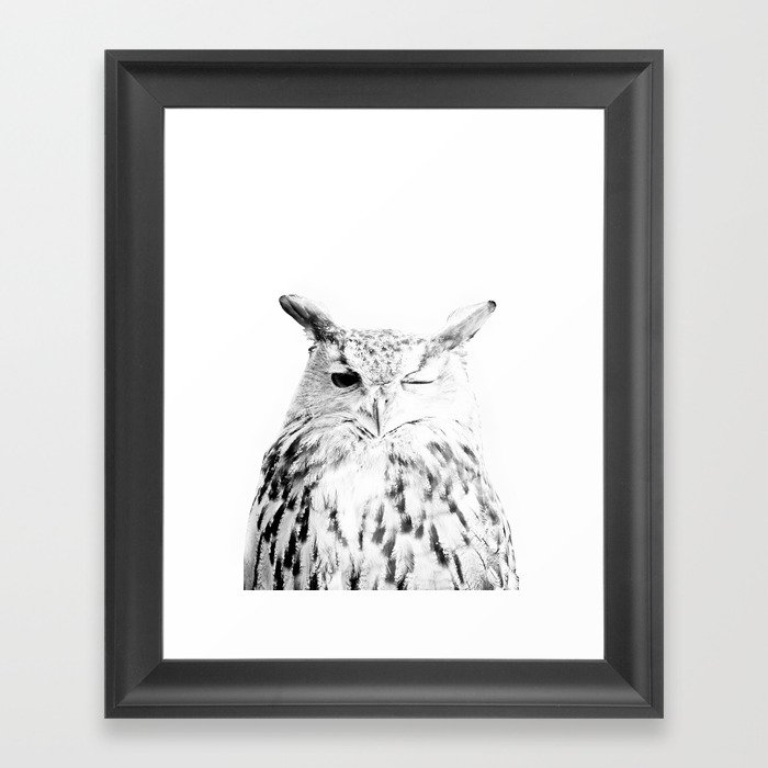 Owl Print, Scandinavian, Modern, Wall Art, Black And White Framed Art Print