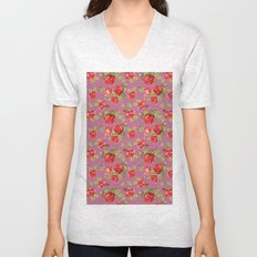 Rose pattern- pink Unisex V-Neck