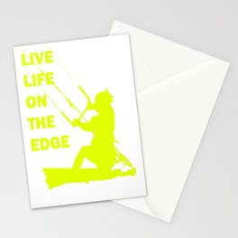 Live Life On The Edge Neon Yellow Kitebeach Stationery Cards