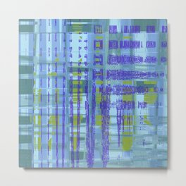 Purple, yellow, green, teal shapes combine together create messed up art Metal Print