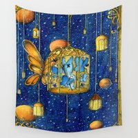 lanterns Wall Tapestries featuring Lanterns by Anca Chelaru