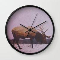 elk Wall Clocks featuring Elk by Andreas Lie