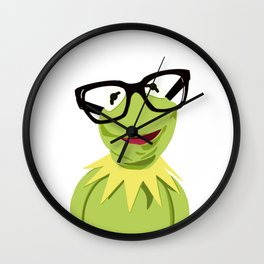 Hipster Kermit - the Optimistic Frog Wall Clock