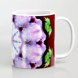 Purple White Flower on Burgundy Coffee Mug