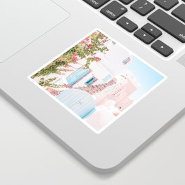 Santorini Greece Mamma Mia Pink House Travel Photography in hd. Sticker