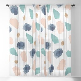 turquoise, navy, pink & gold Sheer Curtain