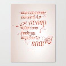 Soar - Illustrated quote of Helen Keller Canvas Print