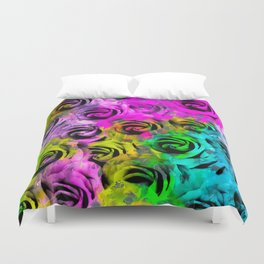 rose texture abstract  with colorful painting abstract background in pink blue yellow green Duvet Cover